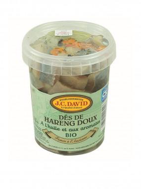 Dés de Harengs Doux BIO préparés aux huiles et aromates - 325 g net égouté